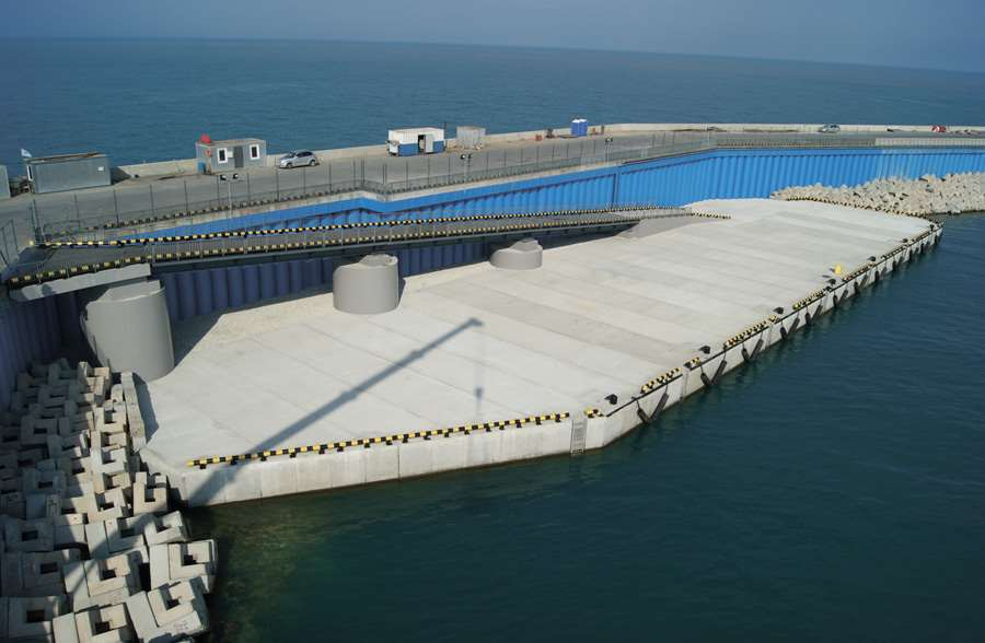 Berth installation for holding anchorage of auxiliary ships. Port of Sochi (Black sea basin)