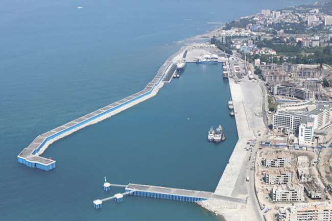 Cargo terminal at the mouth of the river Mzymta. Port  of  Sochi (Black